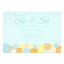 Blue Floral Sip And See New Baby Party Invitation
