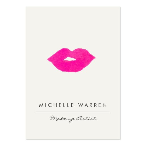 Bold Pink Lips Watercolor Large Business Card