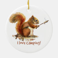 BORN TO GO CAMPING Fun Squirrel Cute Animal Quote Double-Sided Ceramic Round Christmas Ornament