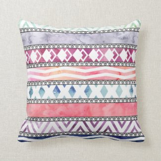 Bright Pastel Watercolor Tribal Aztec Pattern Throw Pillows