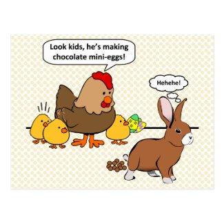 Bunny makes chocolate poop funny cartoon postcards