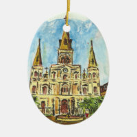 Cathedral Watercolor Double-Sided Oval Ceramic Christmas Ornament