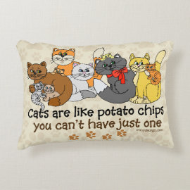 Cats are like potato chips accent pillow