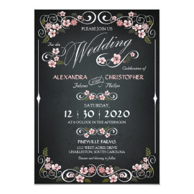 Chalkboard Floral Vintage Bold Wedding 5x7 Paper Invitation Card