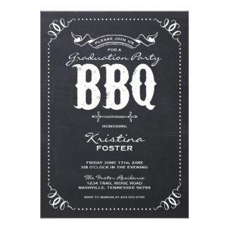 Chalkboard Rustic Vintage Graduation Party BBQ Card