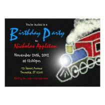 Chalkboard Train Boys Birthday Party Invitations