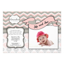 Chevron Sip And See New Baby Girl Photo Template Invites