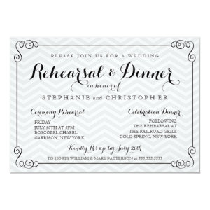 Chic Chevron Wedding Rehearsal & Dinner Invitation