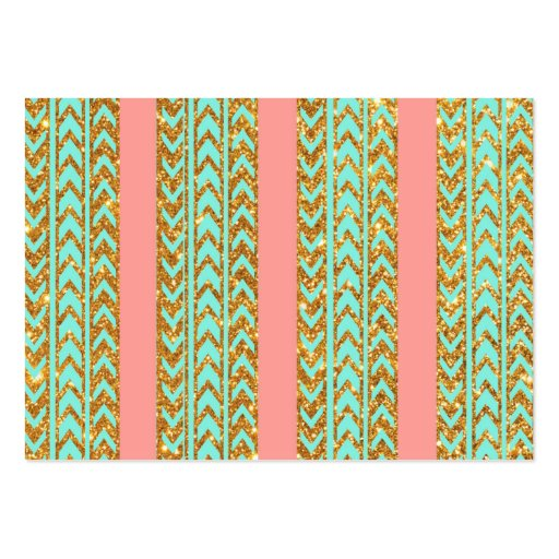 Chic Gold Glitter Arrows Pink Turquoise Stripes Large Business Card