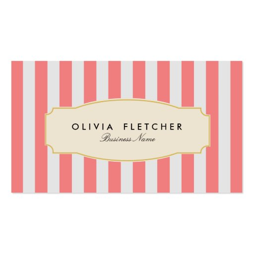 Chic Pink Stripes Business Cards
