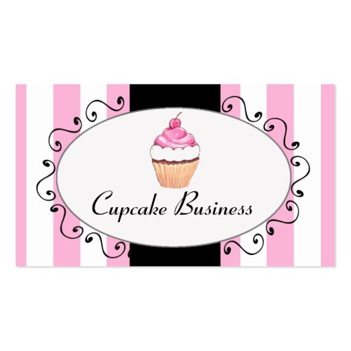 Chic Pink Stripes Cupcake Bakery Business Card