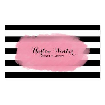 Chic Stripes Pink Black White Makeup Artist Double-Sided Standard Business Cards (Pack Of 100)