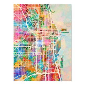 Chicago City Street Map Photo Print