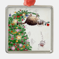 Christmas Cat Trouble Square Metal Christmas Ornament
