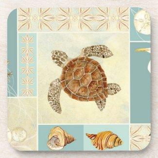 Coastal Beach Ocean Seashore Collage Sea Turtle Beverage Coaster
