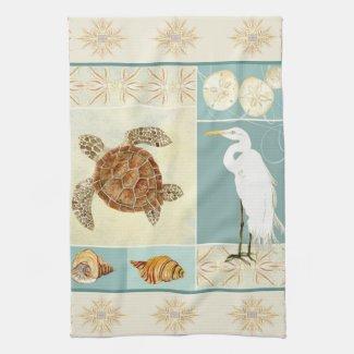 Coastal Beach Ocean Seashore Collage Sea Turtle Hand Towel