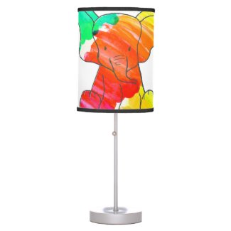 Colorful watercolor hand drawn elephant desk lamps