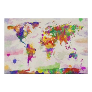 Colorful World Map Poster