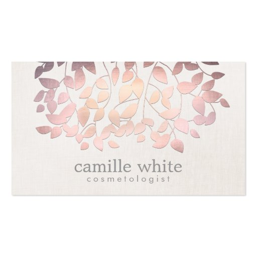 Cosmetology Faux Pink Foil Leaves Linen Look Business Card