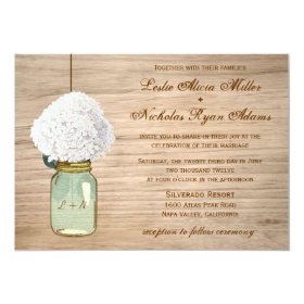 Country Rustic Mason Jar Hydrangea Wedding 5x7 Paper Invitation Card