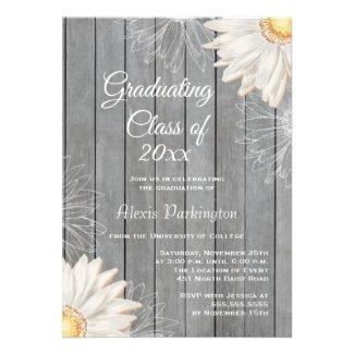Country rustic white daisy graduation party invite