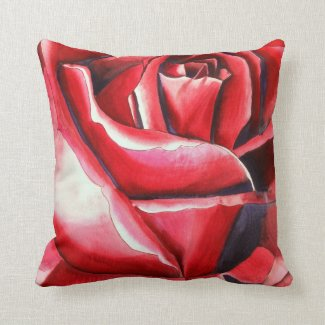 Crimson Red Rose original watercolor art painting Pillows