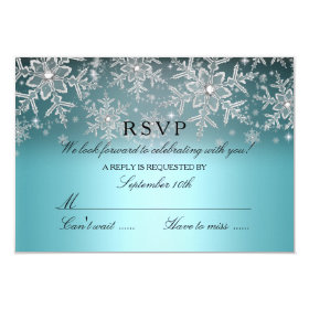 Crystal Snowflake Blue Winter RSVP 3.5x5 Paper Invitation Card