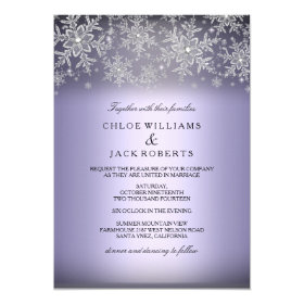 Crystal Snowflake Purple Winter Wedding Invitation