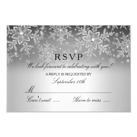 Crystal Snowflake Silver Winter RSVP 3.5x5 Paper Invitation Card