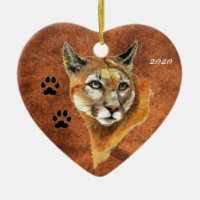Custom, Dated Cougar, Puma, Mountain Lion Animal Double-Sided Heart Ceramic Christmas Ornament
