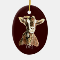 Custom Dated Cute Watercolor Goat Farm Animal Double-Sided Oval Ceramic Christmas Ornament