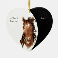 Custom Dated I love Horses Watercolor Horse Double-Sided Heart Ceramic Christmas Ornament