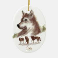 Custom Dated, Watercolor Wolves & Wolf Pack Double-Sided Oval Ceramic Christmas Ornament