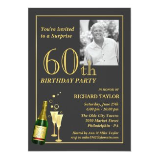 Customized 60th Birthday Party Invitations Personalized Announcements