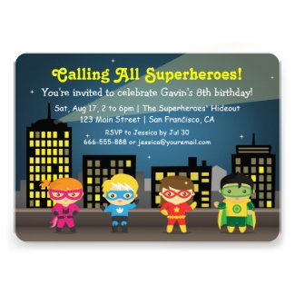Cute Colourful Superhero Birthday Party For Kids Invitation