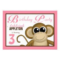 Cute Monkey Pink Birthday Party Invitations