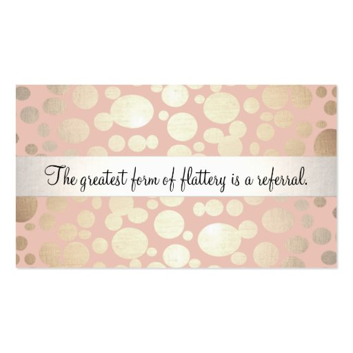 Cute Pink and Gold Cosmetology Referral Card Business Card