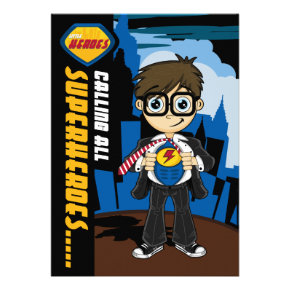 Cute Superhero Boy Party Invite