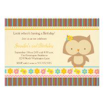 Cute tropical owl girls birthday party invitation