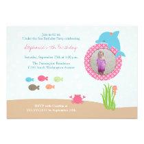 Cute under the Sea girls birthday party invitation