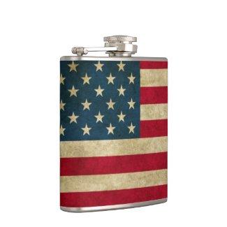 Distressed Grunge American Flag Hip Flask