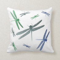 Dragonfly pattern pillow blue teal green