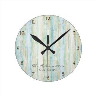 Driftwood Ocean Beach House Coastal Seashoredriftw Wall Clock