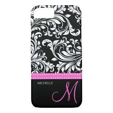 Elegant black and white Damask with Pink monogram iPhone 7 Case