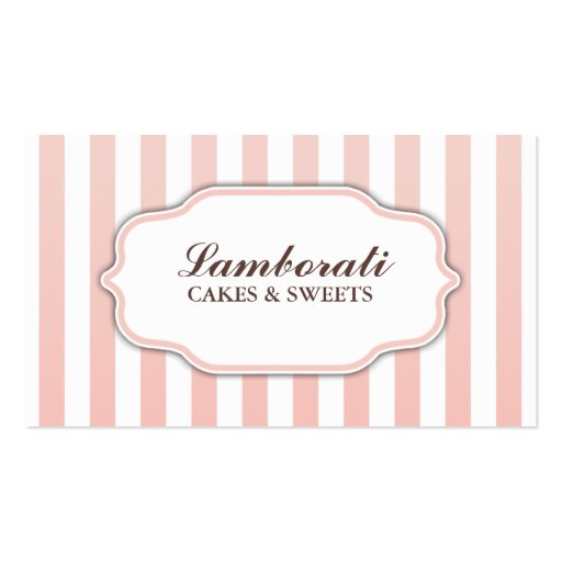 Elegant Modern Cute Pink and White Stripes Business Card