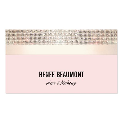 Elegant Retro Sequin Gold and Pink Striped Business Card