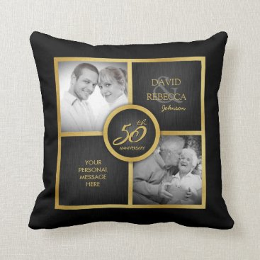 """Elegant """"then and now"""" Black and Gold 50th Wedding Throw Pillow"""
