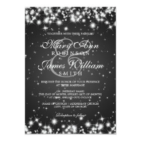 Elegant Wedding Winter Sparkle Black 5x7 Paper Invitation Card