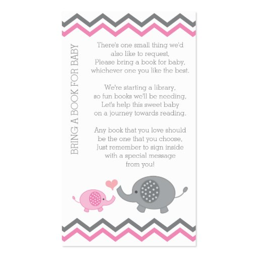 Elephant Baby Shower Bring a Book Insert Pink Girl Business Card