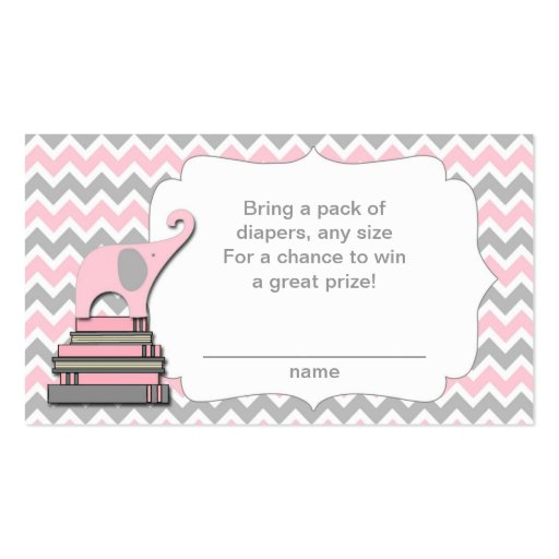 Elephant Baby Shower diaper raffle tickets pink Business Card